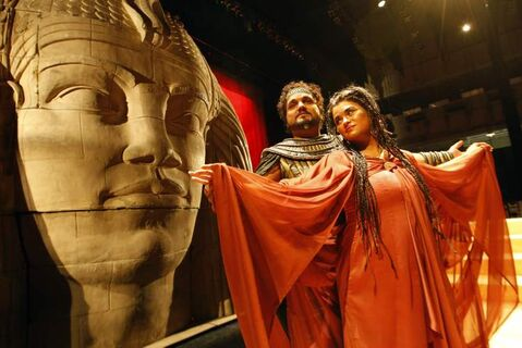 Michele Capalbo as Aida and Rafael Davila as Radames in the Manitoba Opera production of Aida at the Centennial Concert Hall.