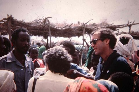 Art DeFehr, working for the United Nations, visits a refugee camp in Somalia in the early 1980s.