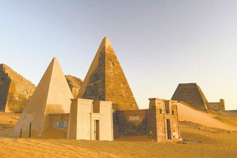 An ancient world awaits travellers venturing inside the pyramids of Sudan. Meroitic script, a language experts have been unable to translate, lines the inside walls of the pyramids at Mero��.