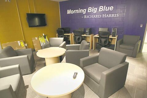 The Blue Bombers also have a comfy-looking players lounge that includes a kitchen, big-screen TV and computers.