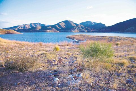 Roosevelt Lake, near Scottsdale, is accessible by Cessna as part of a scenic ride through canyons and over mountains by Desert Splash Seaplane Adventures.
