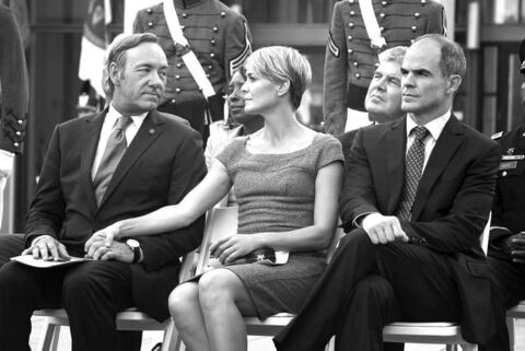 Kevin Spacey, Robin Wright and Michael Kelly from the big-budget Netflix series House of Cards.