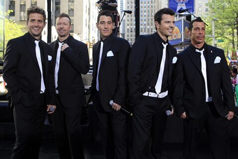 FILE - This May 8, 2009 file photo shows members of New Kids on the Block, from left, Joey McIntyre, Donnie Wahlberg, Jonathan Knight, Jordan Knight, and Danny Wood on the NBC