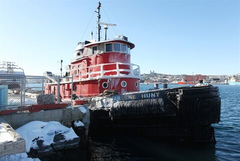 The tugboat Charlene Hunt is docked in St. John's harbour, Tuesday, Jan.29, 2013. There are growing safety and environmental concerns as an empty former cruise ship drifts toward the open sea off Newfoundland.The Lyubov Orlova, a 237-passenger vessel, has been adrift since its tow line snapped last week as it was being pulled to the Dominican Republic by the Charlene Hunt for scrap.THE CANADIAN PRESS/Paul Daly