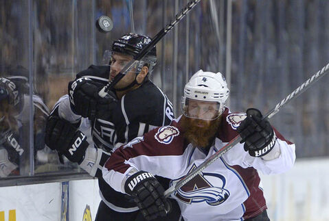 Colorado Avalanche defenseman Greg Zanon (right)