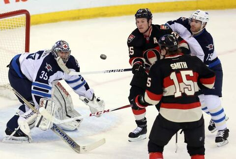 Jets goaltender Al Montoya got a shutout against the Ottawa Senators on Feb. 9.
