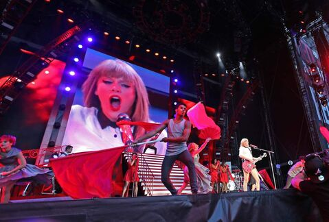 Taylor Swift performs at Investors Group Field Saturday as part of her Red tour.