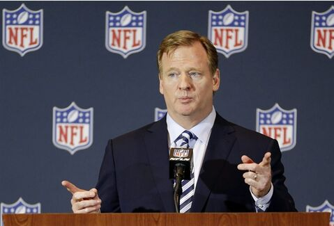 FILE - In this March 25, 2014, file photo, NFL Commissioner Roger Goodell answers questions during a news conference at the NFL football annual meeting in Orlando, Fla. Players will be subject to a six-week suspension for a first domestic violence offense and banishment from the league for a second under a new policy outlined by Commissioner Roger Goodell in a letter and memo sent to all 32 teams owners Thursday, Aug. 28, 2014, and obtained by The Associated Press. (AP Photo/John Raoux, File)