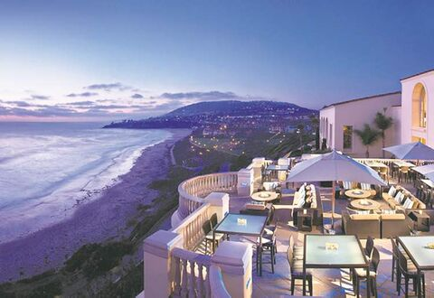 Dusk at 180blu, the Ritz's signature bar overlooking the Pacific Ocean. The appetizers are great and the sunset views awe-inspiring.