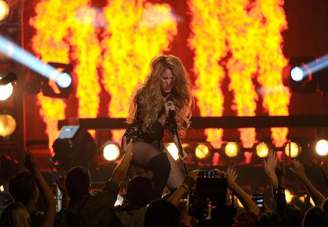 Shakira performs at the Billboard Music Awards at the MGM Grand Garden Arena on Sunday, May 18, 2014, in Las Vegas.