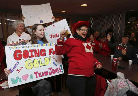St. Vital Curling Club opened its doors at 6:30 a.m. this morning to allow Winnipeggers to watch the club's own Jennifer Jones and her team play Sweden for the Olympic gold medal in curling. The game began at 7:30.