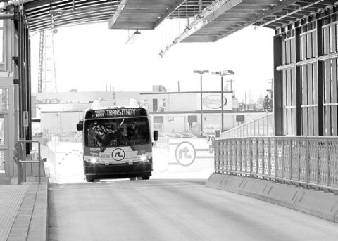 A bus arrives at the Osborne Street Station last April.