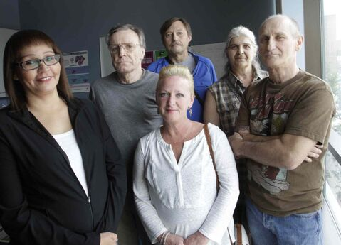 A group of Hepatitis C sufferers who want coverage for an expensive new drug that has recently come on the market are Tina Lussier (centre) with (from left) Jacquie Maytwayashing, Robert Walker, Bert Vledder, Heike DeGraff and Brad Mastervick.