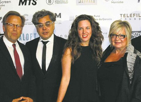 Randall King/Winnipeg Free Press From left, producer Mark Johnson, Mongrel Media's Hussain Armarshi, director Claudia Llosa and Manitoba Film and Music CEO Carole Vivier.