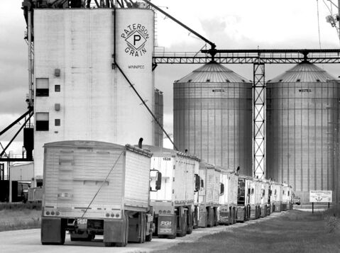 A long line of trucks waits to deliver a record harvest at the Paterson Grain terminal Friday on the northwest outskirts of WInnipeg.