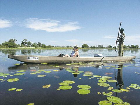 A Mokoro is the perfect way to travel through the water ways of the Okavango Delta.