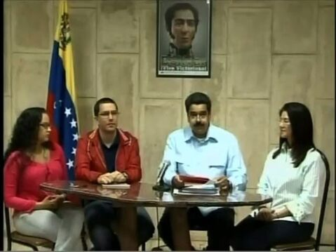 In this frame grab taken from the government owned Venezolana de Television, Venezuela's Vice-President Nicolas Maduro, second right, speaks next to Minister of Technology Jorge Arreaza, second left, Venezuela's president Hugo Chavez's daughter Rosa Virginia, left, and Attorney General Cilia Flores, right, in a televised address from Havana, Cuba, Sunday, Dec. 30, 2012. Maduro said President Hugo Chavez has suffered