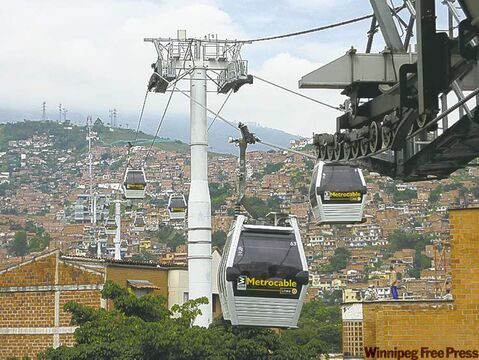Part of the Metrocable system provides access for Medellin's poor, who live on the city's hillsides.