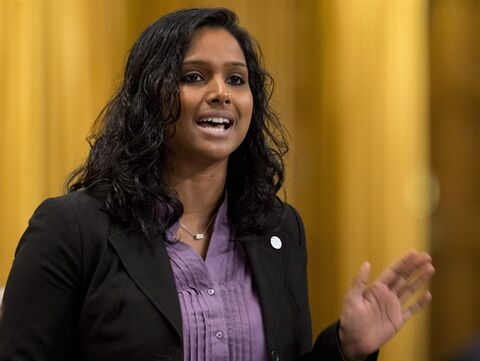NDP MP Rathika Sitsabaiesan rises during Question Period in the House of Commons in Ottawa on October 19, 2012. The Canadian government is trying to determine if there is any truth to a Sri Lankan media report that a New Democrat MP is under house arrest in the Asian country. THE CANADIAN PRESS/Adrian Wyld