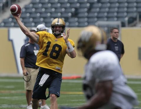 Quarterback Justin Goltz at the Winnipeg Blue Bomber practice at Investors Group Field Thursday.