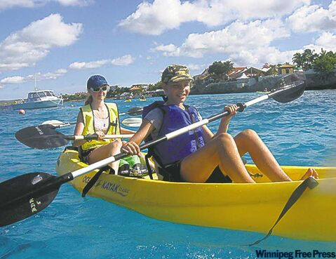 Rebekah Hatherly and Shannon Fitzhenry kayaking.