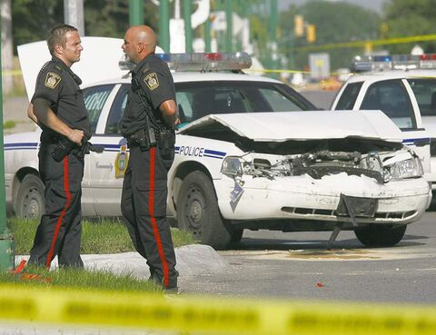 A cruiser was damaged after a high-speed chase July 16, 2007. Sources say the officers' version of events was questionable.