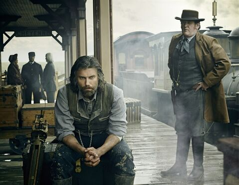 Anson Mount as Cullen Bohannon and Colm Meaney as Thomas 'Doc' Durant are pictured in a scene from
