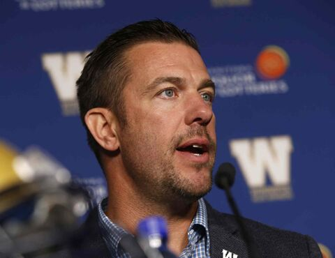 The Winnipeg Blue Bombers G.M. Kyle Walters at the news conference Friday to announce the contract extension for quarterback Drew Willy.
