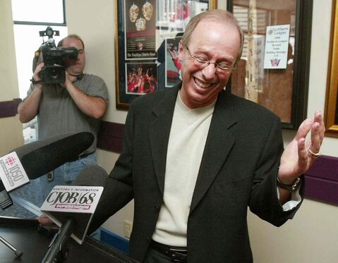 Winnipeg Goldeyes owner and former concert promoter Sam Katz is seen shortly after announcing he will run for mayor in 2004.