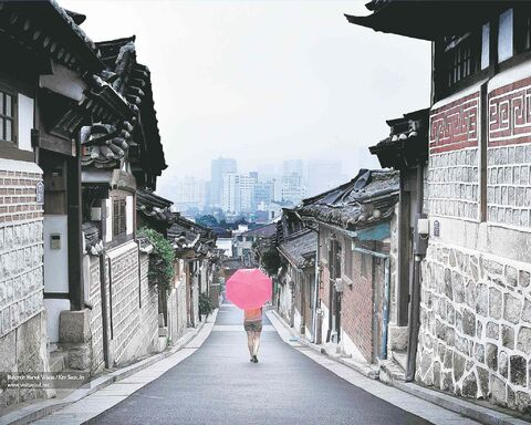 A glimpse back in time at the Bukchon Hanok Village of traditional Korean houses.