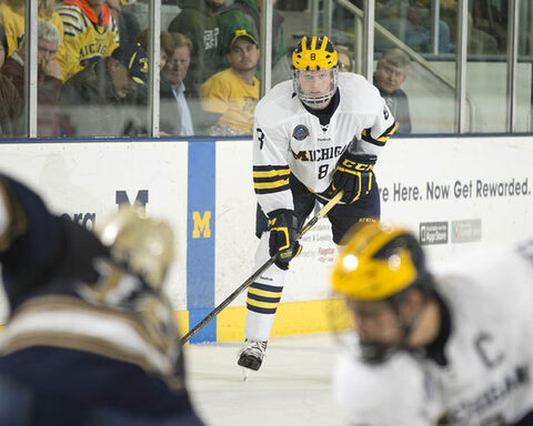 One look into Jacob Trouba's glowering eyes and opponents will think twice (at least) before messing with the Wolverines blue-liner. Trouba scored his fourth goal of the season Friday against Notre Dame.