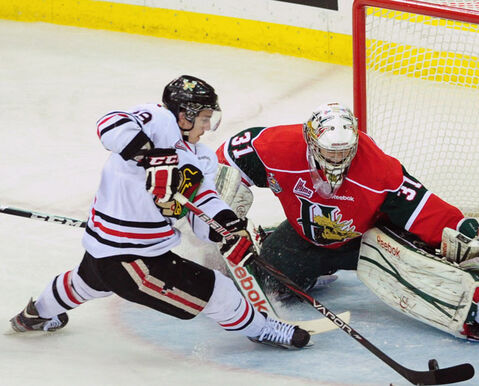 Nicolas Petan (Portland Winterhawks centre) seen here scoring on Halifax Mooseheads goaltender Zachary Fucale, has been picked up by the Winnipeg Jets as a second round draft pick.