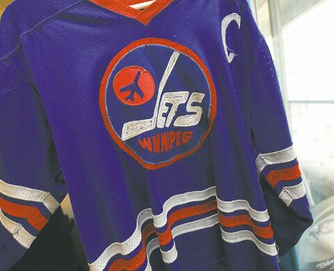 A vintage Lars-Erik Sjoberg jersey that could eventually find its way into the WHA Hall of Fame in Minnesota.