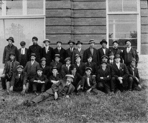 Recruits of the 106th Winnipeg Light Infantry. Those of the 'Anglo-Saxon race' were highly desired as recruits.
