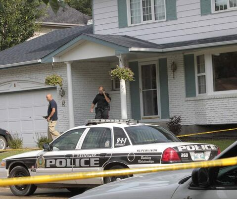 Police investigate at the home on Coleridge Park Drive.