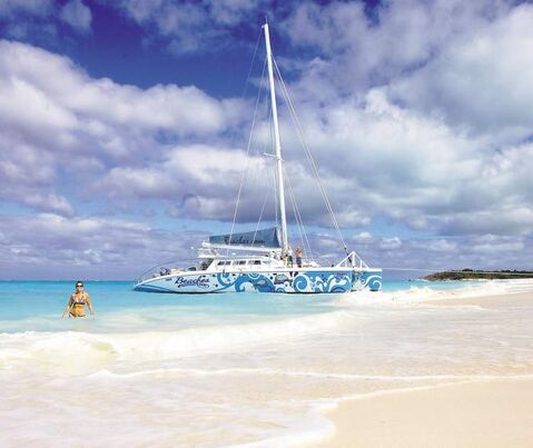 Beaches Resort's Kitty Katt Catamaran Tour makes an unforgettable stop at the beautiful deserted island Little Water Cay in Turks and Caicos.