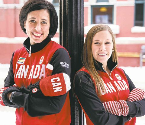 Jill Officer (left) and Kaitlyn Lawes are already showing off their Team Canada duds.