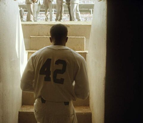 Chadwick Boseman as Jackie Robinson in the drama 42.