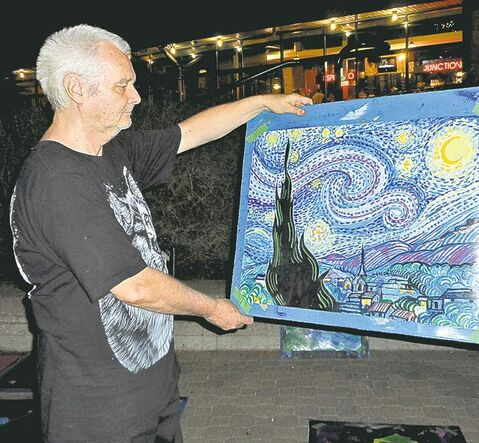 The Forks artist Cliff Baldwin shows his version of Van Gogh's famous Starry Night.
