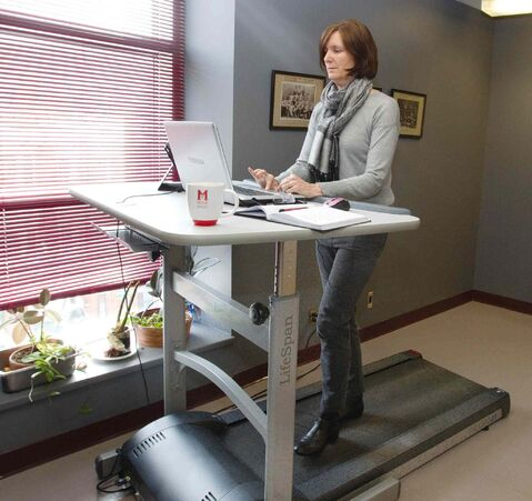 A researcher at the University of Manitoba is studying the effects of physical activity in the office. Treadmill desks, such as this one seen in Montreal, will be used as part of the research.