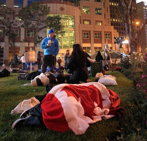 A file photo of the third annual CEO Sleepout at Portage and Main in 2013.
