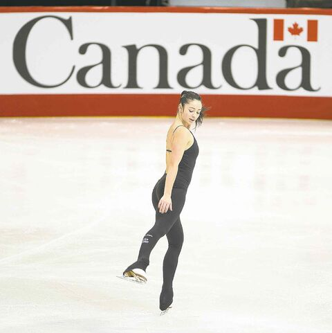 Kaetlyn Osmond skates during a practice session at the Canadian figure skating championships Thursday in Ottawa.