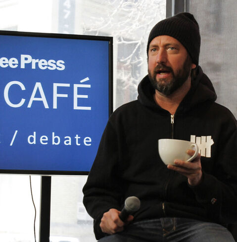 Ontario-born comedian Tom Green is at the Winnipeg Free Press News Cafe for an interview today at 12:30 p.m. He'll be on stage in front of a sold out show at Rumours Comedy Club on Saturday, April 6, 2013.