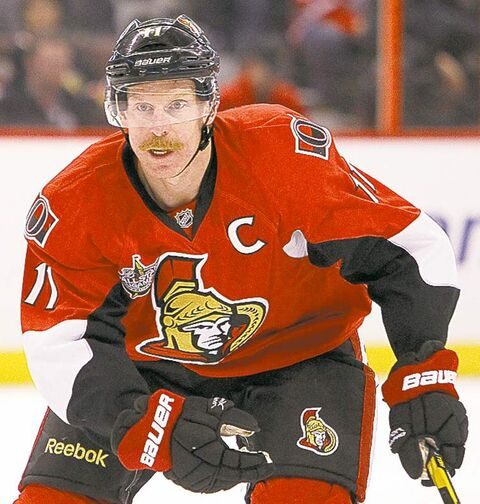 OTTAWA, ON:  DECEMBER 22, 2011  --  Daniel Alfredsson of the Ottawa Senators against the Florida Panthers during first period NHL action in Ottawa at Scotiabank Place, December 22, 2011.  (Photo Jean Levac, Ottawa Citizen) For Ottawa Citizen story by , SPORTS Assignment 107147 close cut closecut