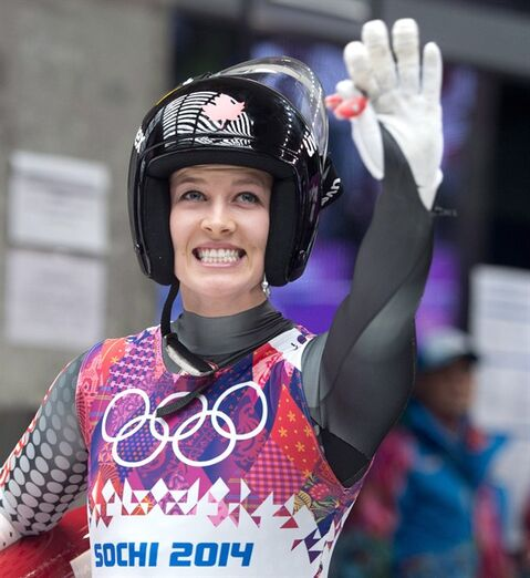 Canada's Arianne Jones waves to her fans following the women's luge event at the Sochi Winter Olympics in Krasnaya Polyana, Russia, Tuesday, Feb. 11, 2014. THE CANADIAN PRESS/Jonathan Hayward