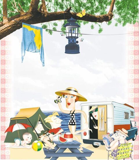 200 dpi 58p x 67p Ana Larrauri color illustration of families camping in summertime, with camper truck and tent at beach. Can be used with any family summer camping stories.  Miami Herald 1998
