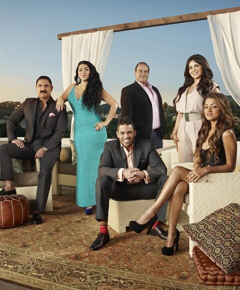 The cast of the reality television show Shahs of Sunset, including Reza Farahan (left).