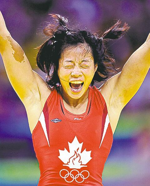 Canadian Carol Huynh  wrestles today.