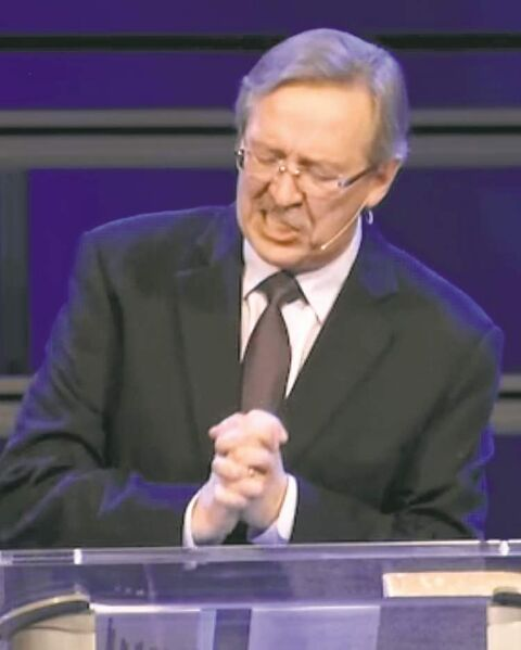 Pastor Ray Duerksen, in an image from video, told worshippers God put authorities in their places -- and can remove them.