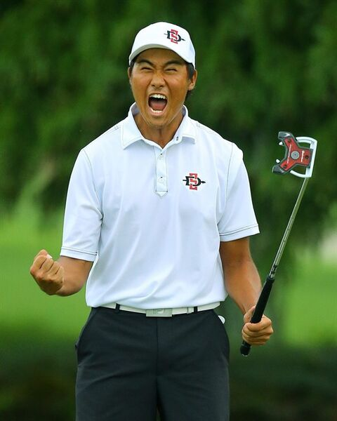 Gunn Yang, of San Diego, Calif., reacts to sinking his par putt on the 17th hole during the afternoon round to win the 36-hole championship match of the 2014 U.S. Amateur Championship at Atlanta Athletic Club on Sunday, Aug.17, 2014, in Johns Creek, Ga. (AP Photo/Atlanta Journal-Constitution, Curtis Compton) MARIETTA DAILY OUT; GWINNETT DAILY POST OUT; LOCAL TELEVISION OUT; WXIA-TV OUT; WGCL-TV OUT